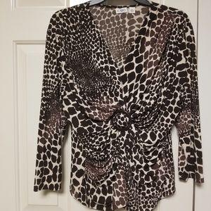 Cato Leopard Print Long Sleeve Shirt